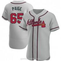 Mens Satchel Paige Atlanta Braves #65 Authentic Gray Road A592 Jersey