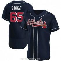 Mens Satchel Paige Atlanta Braves #65 Authentic Navy Alternate A592 Jerseys