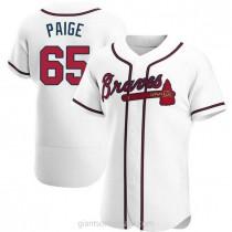 Mens Satchel Paige Atlanta Braves #65 Authentic White Home A592 Jerseys