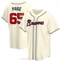 Mens Satchel Paige Atlanta Braves #65 Replica Cream Alternate A592 Jersey