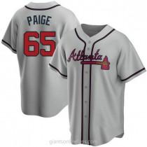 Mens Satchel Paige Atlanta Braves #65 Replica Gray Road A592 Jersey