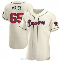 Mens Satchel Paige Atlanta Braves Authentic Cream Alternate A592 Jersey