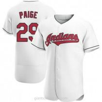 Mens Satchel Paige Cleveland Indians #29 Authentic White Home A592 Jersey