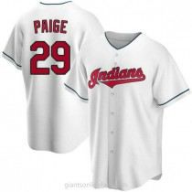 Mens Satchel Paige Cleveland Indians Replica White Home A592 Jersey
