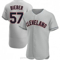 Mens Shane Bieber Cleveland Indians #57 Authentic Gray Road A592 Jersey