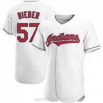 Mens Shane Bieber Cleveland Indians #57 Authentic White Home A592 Jerseys
