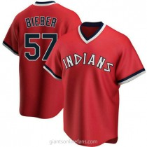 Mens Shane Bieber Cleveland Indians #57 Replica Red Road Cooperstown Collection A592 Jerseys