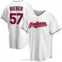 Mens Shane Bieber Cleveland Indians Replica White Home A592 Jersey