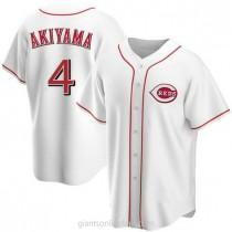 Mens Shogo Akiyama Cincinnati Reds #4 Replica White Home A592 Jerseys