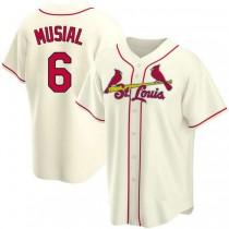 Mens Stan Musial St Louis Cardinals #6 Cream Alternate A592 Jerseys Replica
