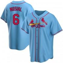Mens Stan Musial St Louis Cardinals #6 Light Blue Alternate A592 Jerseys Replica