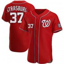 Mens Stephen Strasburg Washington Nationals #37 Authentic Red Alternate A592 Jerseys