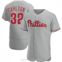 Mens Steve Carlton Philadelphia Phillies #32 Authentic Gray Road A592 Jersey