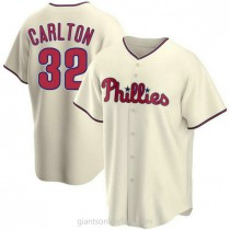 Mens Steve Carlton Philadelphia Phillies #32 Replica Cream Alternate A592 Jersey