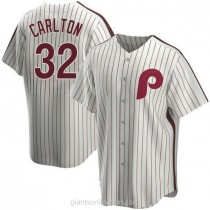 Mens Steve Carlton Philadelphia Phillies Replica White Home Cooperstown Collection A592 Jersey