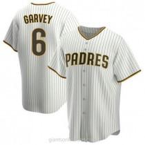 Mens Steve Garvey San Diego Padres #6 Replica White Brown Home A592 Jerseys