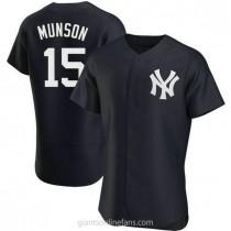 Mens Thurman Munson New York Yankees #15 Authentic Navy Alternate A592 Jersey