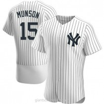 Mens Thurman Munson New York Yankees #15 Authentic White Home A592 Jersey