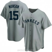 Mens Thurman Munson New York Yankees #15 Replica Gray Road Cooperstown Collection A592 Jersey