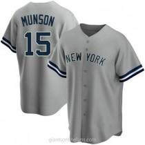 Mens Thurman Munson New York Yankees #15 Replica Gray Road Name A592 Jerseys