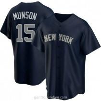 Mens Thurman Munson New York Yankees #15 Replica Navy Alternate A592 Jersey