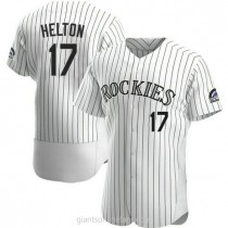 Mens Todd Helton Colorado Rockies #17 Authentic White Home A592 Jersey