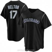 Mens Todd Helton Colorado Rockies #17 Replica Black Alternate A592 Jersey