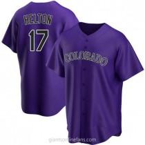 Mens Todd Helton Colorado Rockies #17 Replica Purple Alternate A592 Jerseys