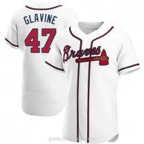 Mens Tom Glavine Atlanta Braves #47 Authentic White Home A592 Jerseys