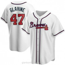 Mens Tom Glavine Atlanta Braves #47 Replica White Home A592 Jersey