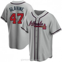 Mens Tom Glavine Atlanta Braves Replica Gray Road A592 Jersey