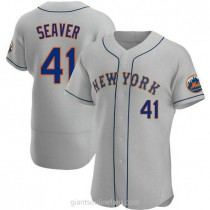 Mens Tom Seaver New York Mets #41 Authentic Gray Road A592 Jersey