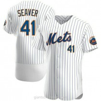 Mens Tom Seaver New York Mets #41 Authentic White Home A592 Jersey