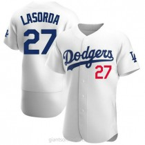 Mens Tommy Lasorda Los Angeles Dodgers #27 Authentic White Home Official A592 Jerseys