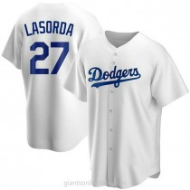 Mens Tommy Lasorda Los Angeles Dodgers #27 Replica White Home A592 Jersey