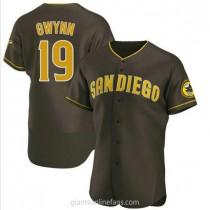 Mens Tony Gwynn San Diego Padres #19 Authentic Brown Road A592 Jerseys