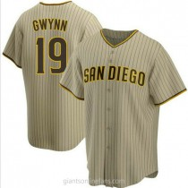 Mens Tony Gwynn San Diego Padres #19 Replica Brown Sand Alternate A592 Jersey