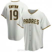 Mens Tony Gwynn San Diego Padres #19 Replica White Brown Home A592 Jersey
