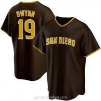 Mens Tony Gwynn San Diego Padres Replica Brown Road A592 Jersey