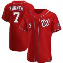 Mens Trea Turner Washington Nationals #7 Authentic Red Alternate A592 Jersey