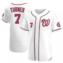 Mens Trea Turner Washington Nationals #7 Authentic White Home A592 Jersey