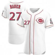 Mens Trevor Bauer Cincinnati Reds #27 Authentic White Home A592 Jerseys