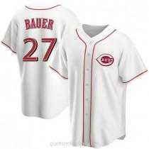 Mens Trevor Bauer Cincinnati Reds #27 Replica White Home A592 Jersey