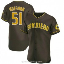Mens Trevor Hoffman San Diego Padres #51 Authentic Brown Road A592 Jersey