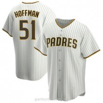 Mens Trevor Hoffman San Diego Padres #51 Replica White Brown Home A592 Jersey