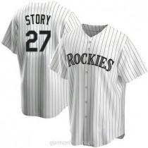 Mens Trevor Story Colorado Rockies #27 Replica White Home A592 Jerseys