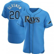 Mens Tyler Glasnow Tampa Bay Rays #20 Authentic Light Blue Alternate A592 Jersey