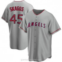 Mens Tyler Skaggs Los Angeles Angels Of Anaheim #45 Replica Silver Road A592 Jerseys