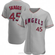 Mens Tyler Skaggs Los Angeles Angels Of Anaheim Authentic Gray Road A592 Jersey