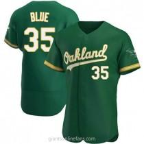 Mens Vida Blue Oakland Athletics #35 Authentic Blue Kelly Green Alternate A592 Jerseys